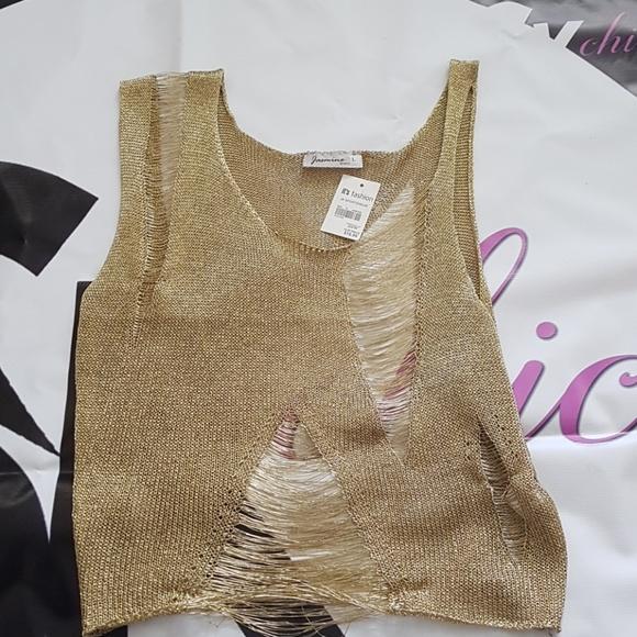 ebd565629d0d5e Jasmine Gold Sleeveless mesh tank top